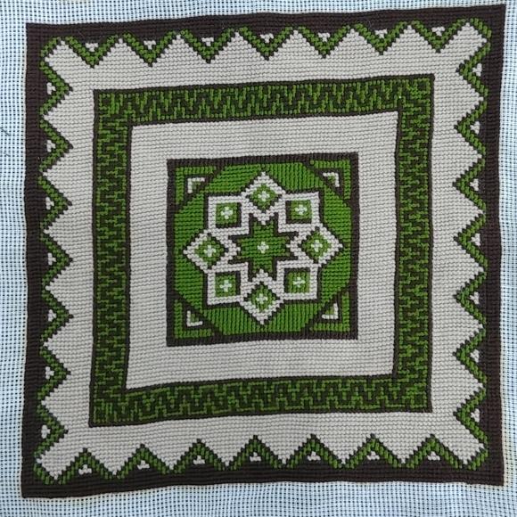 4/$15 - vintage green and brown needlework